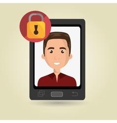man mobile cellphone usb vector image