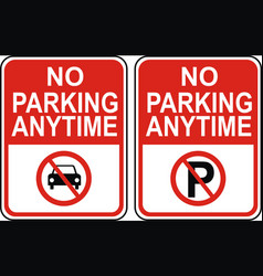 no parking anytime vector image