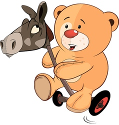 A stuffed toy bear cub and a wooden horse cartoon vector image