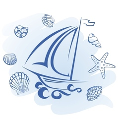Abstract Ship and seashells vector