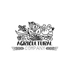 Agricultural company logo in sketch style vector