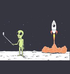 Alien photographs himself vector