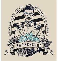 Barbershop vintage monochrome badge vector