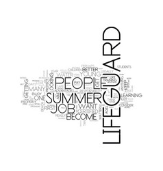 Become a summer lifeguard text word cloud concept vector