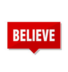 Believe red tag vector
