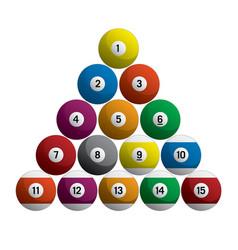 Billiards pool balls racked set realistic 3d isola vector