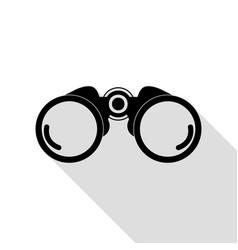 binocular sign black icon with flat vector image