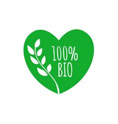 Bio heart shape badge bio green label sticker vector