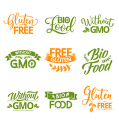 Bio organic and natural food lettering icons vector