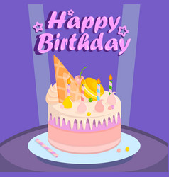 birthday cake for party on purple background vector image