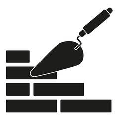 black and white trowel silhouette on brick wall vector image