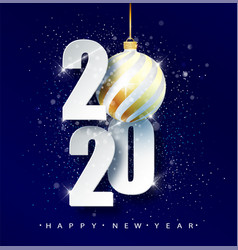 blue 2020 happy new year holiday vector image
