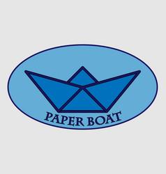 Blue paper boat logo vector