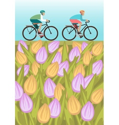 Boys is riding bike on spring field vector