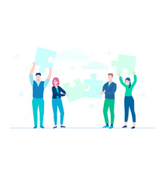 business team doing a puzzle - flat design style vector image