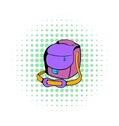 Camera bag icon comics style vector