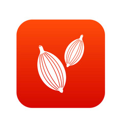 Cardamom pods icon digital red vector