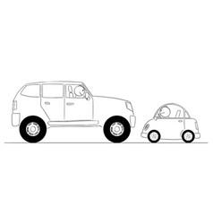 Cartoon comparison small and big cars vector