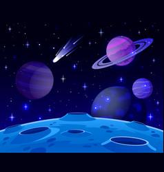 Cartoon space landscape cosmic planet surface vector