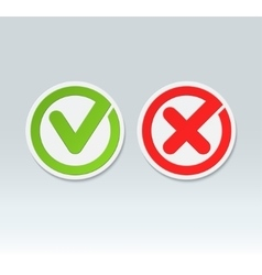 Check mark buttons tick and cross icons vector