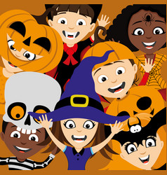 Children in costumes for halloween vector