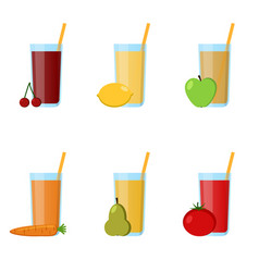 collection glass juices from fruits vegetables vector image