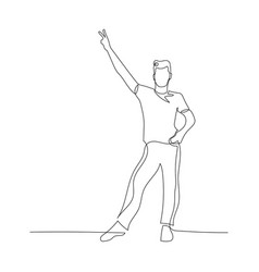 Continuous one line male dancer shows a peace sign vector