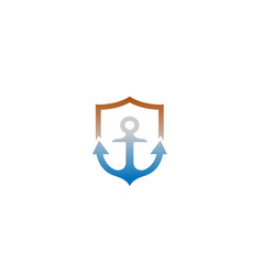 creative anchor shield logo vector image