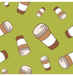 cute cartoon doodle seamless pattern coffee cup vector image