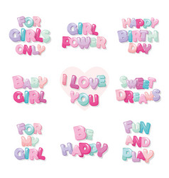 cute inscription icons for girls cartoon glossy vector image