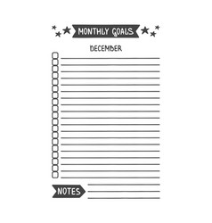 December monthly goals template vector