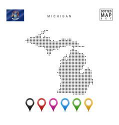 Dots pattern map michigan stylized silhouette vector