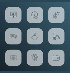 e-commerce icons line style set with wallet vector image