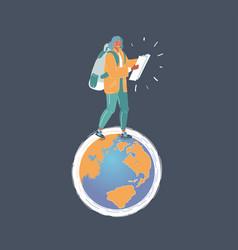 earth and woman walks vector image
