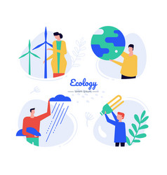 eco energy - flat design style characters vector image