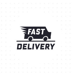 Fast delivery concept with truck van in black colo vector