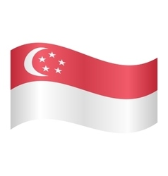 Flag of Singapore waving on white background vector image
