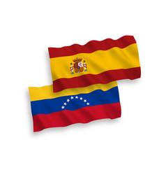 Flags venezuela and spain on a white background vector
