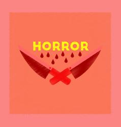 Flat shading style icon knives horror vector