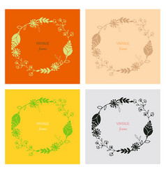 Floral ornament of leaves flowers swirls vector