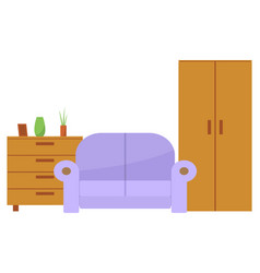 furniture for home as sofa chest and wardrobe vector image