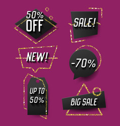 geometric trendy sale banners labels tags vector image