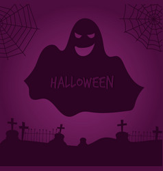 ghost silhouette halloween background with vector image