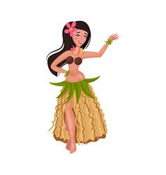 Girl in a traditional hawaiian costume vector
