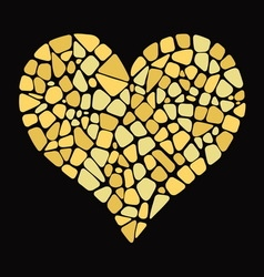Gold Heart in mosaic style vector image
