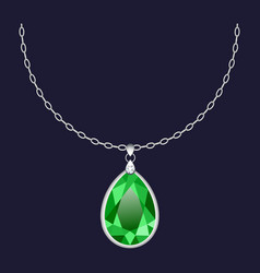 Green pendant necklace icon realistic style vector
