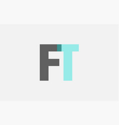 Grey pastel blue alphabet letter combination ft f vector