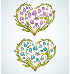 Hand drawn floral hearts vector