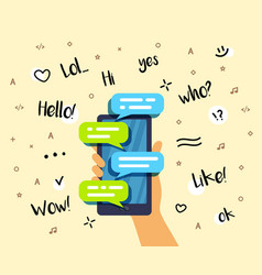 hand holding a smartphone and chatting bubble vector image