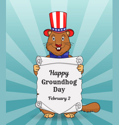 happy groundhog day greeting card or a vertical vector image